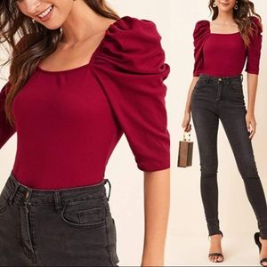 LOVERS Valentines Day Puff Sleeve Top